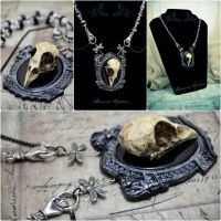 Gothic silver necklace Bird Skull and Gargoyles by Verope