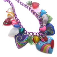 Purple Chain Heart Necklace by fairy-cakes