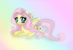 Fluttershy and random bunny Colors by Lunaltaria