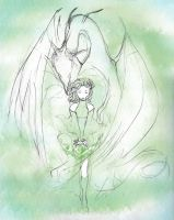 Rydia and Bahamut by skays