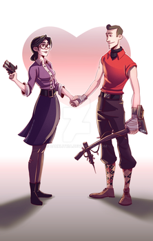 TF2: Miss Pauling and Scout2 by DarkLitria