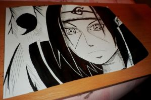 Uchiha Itachi - India ink by Kazemye