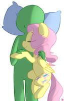 Cuddle time with Fluttershy by Elslowmo