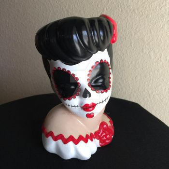Day of the Dead Inspired Pinup Head Vase by hellinahandbag