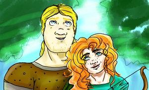 Merida and MacGuffin Doodle by lallyzippo