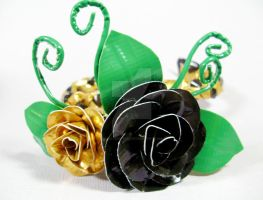 Duct Tape Corsage in Black and Gold by QuietMischief