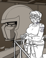Heads Up 164 - Mechanic Gal by SeanRM