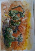 Michelangelo - TMNT - Watercolor by dreamflux1