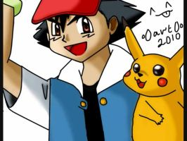 Ash and Pikatchu by o0art0o9