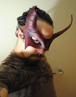Battle Scarred Ruby Demon Leather Mask by Epic-Leather