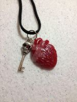 Anatomically Correct Heart with skull key necklace by AestheticSaturn