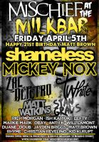 mischief makers flyer march april 5th. by stephhabes