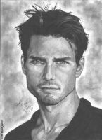 Tom Cruise portrait by RogueDerek