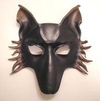 Wolf or Dog Leather Mask black and brown by teonova