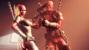 Deadpool and Lady Deadpool by AngryRabbitGmoD