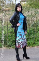 Teal and Pink Butterfly Print Maxi Dress by Belle-Lolita-Designs