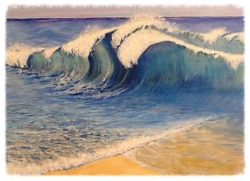 Trial painting of waves on beach by Liquidlolly