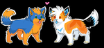Orange and Blue pups by Ash-Dragon-wolf