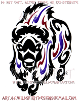 Thundering Bison Tribal Design by WildSpiritWolf