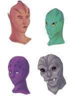 Concept alien heads by NeoValentine