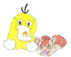 Vulpix and Psyduck by LolitaLibrarian