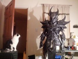 Daedric armor in progress + bonus cat by lsomething