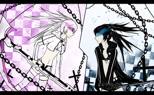 Black Rock Shooter vs White Rock Shooter by Tichael