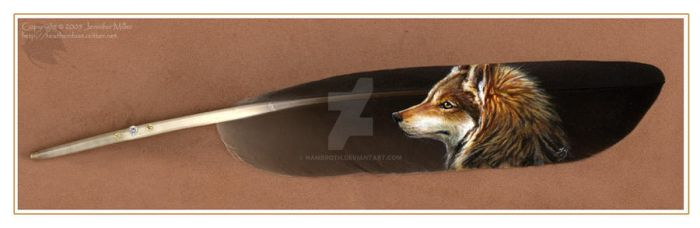 Feather Painting- Wolf Profile by Nambroth