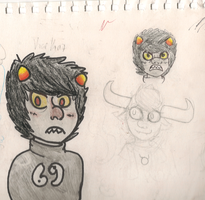 Karkat and tavros sketch page by Cierue
