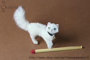 Miniature White Cat OOAK Hand flocked 1:12 Scale by Teensyweensybaby