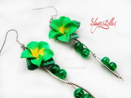 Polymer clay green flower earrings by Benia1991