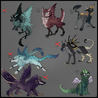 Griffine- Canine/griffin  creature adopts! -CLOSE- by Taluns