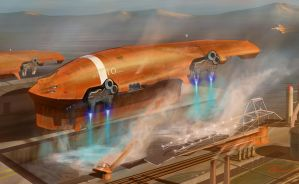 Tanker Starship Water Landing by scifieart10000