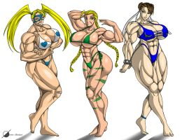Commission: Muscle Girls by Osmar-Shotgun