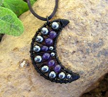 Hematite and Amethyst Black by MoonLitCreations