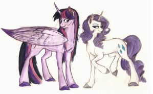 Alicorn Twi and Rarity Doodle by Earthsong9405