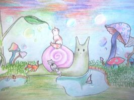Kittens Riding On A Snail (Contest) by emokitten687