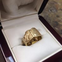 gold textured ring by The-Silver-Forge