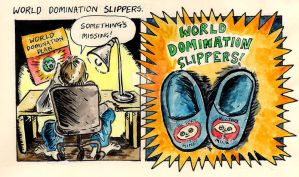 World Domination Slippers by space-in-mind