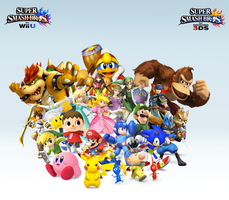 Super Smash Bros. Wii U/3DS Group WallpaperV7 by CrossoverGamer