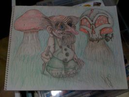 troll, knome on paper with BG by kwpatrick