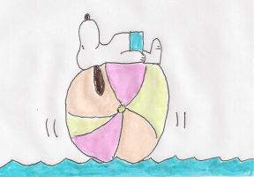 Snoopy on a beach ball by dth1971