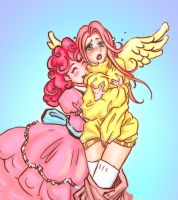 Pinkie on Fluttershy by Superkeen