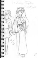 Inuyasha, Kagome...hold hands by Kamiruchan015
