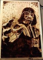 Wood burned Darth Vader by Avanien
