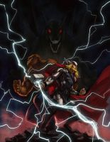 Thor and Thing vs Fafnir by charro-art