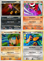 Megaman EXE and Co pokemon cards. by CreshendoCanine