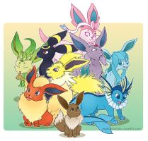 Eevee family by Mytis