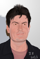 Charlie Sheen - Digital Painting by joohvitor