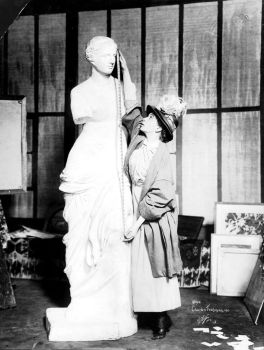 vintage woman and statue by MementoMori-stock